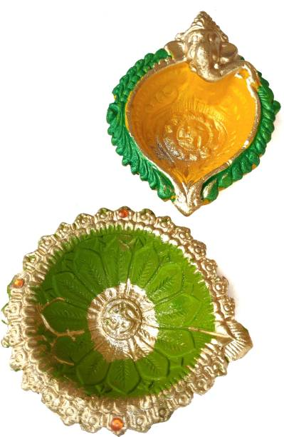 Local Charm Traditional Earthenware (Pack of 2) Table Diya Set