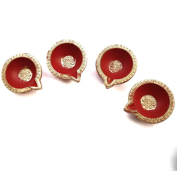 Local Charm Traditional Earthenware (Pack of 4) Table Diya Set