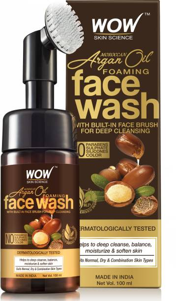 WOW SKIN SCIENCE Moroccan Argan Oil Foaming  with Built-in Brush - contains Argan Oil & Aloe Extracts - for Dry to Normal Skin - No Parabens, Sulphate, Silicones & Synthetic Color - 100mL Face Wash