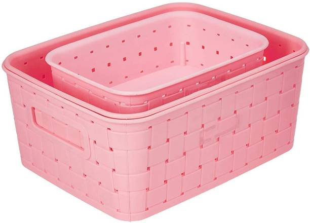 AARVI Multipurpose Smart Shelf Basket Set 3 Pcs. Storage Basket for Fruits, Vegetables,Magazines, Cosmetics etc Storage Basket Basket for Kitchen Use (Pack of 3) Pink Color Plastic Fruit & Vegetable Basket