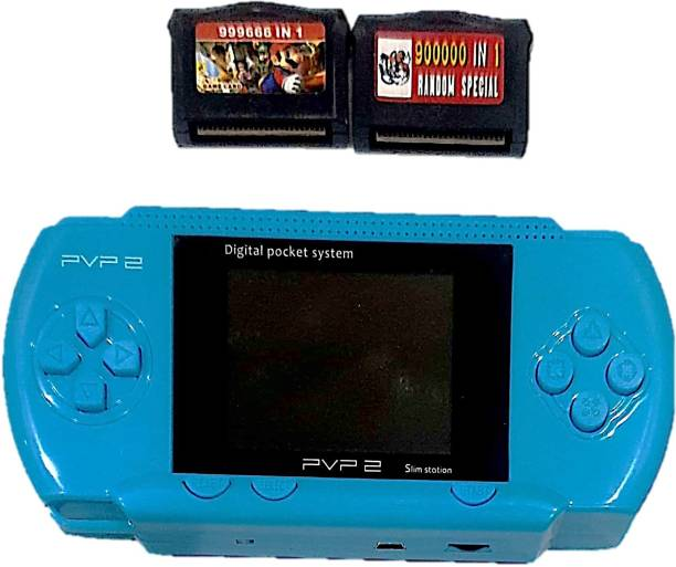 Clubics PVP2 Video Game - 16 Bit Kids Gaming Console (Lite Blue) 1 GB with Super Mario, Contra 1 GB with Super Mario 1 GB with Super Mario