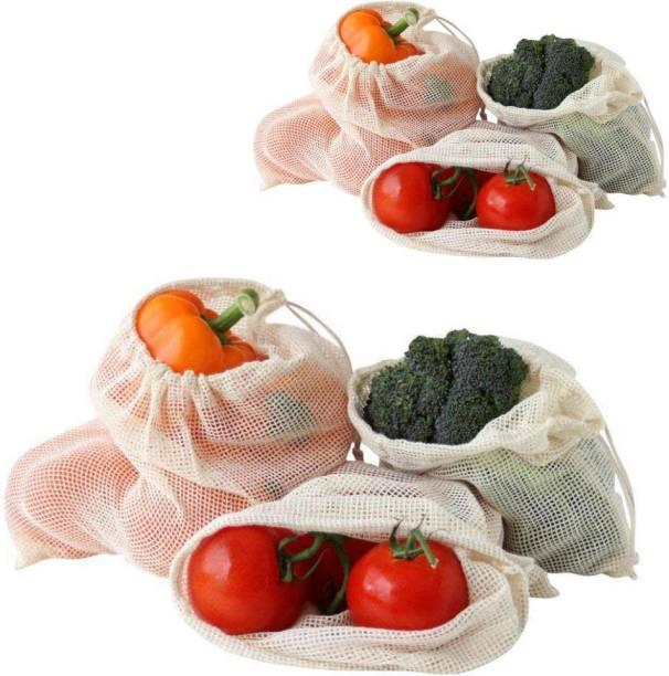 Trisha Crafts Fridge Bag, Vegetable Storage Bag, Multipurpose Storage Fridge Bag, Sustainable Eco Friendly Cotton Fridge Bag, 100% Cotton Reusable Bag Pack of 6 Grocery Bags