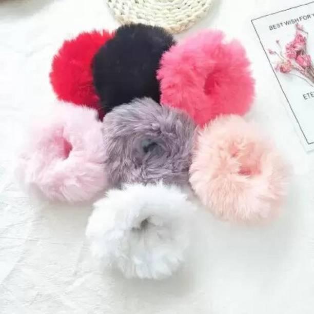 Shiv Cute Elastic Hair Bands Girls Artificial Faux Fur Rubber Elastic Ring Rope Fluffy Tie Hair Accessories Furry Scrunchie Headband|Women's Hair Accessories Rubber Band