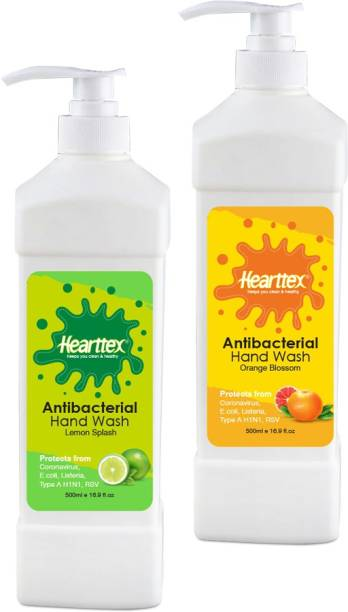 Hearttex Combo of 2 Anti Bacterial Hand Wash Liquid for Soft Protecting Hands, Multiflavour , HT1015 Hand Wash Pump Dispenser