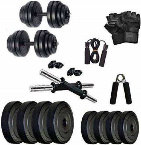 Brawl Nation 10 Kg Home Gym Exercise Set of PVC Plates with 1 Pair Dumbbell Rods with other accessories Gym & Fitness Kit