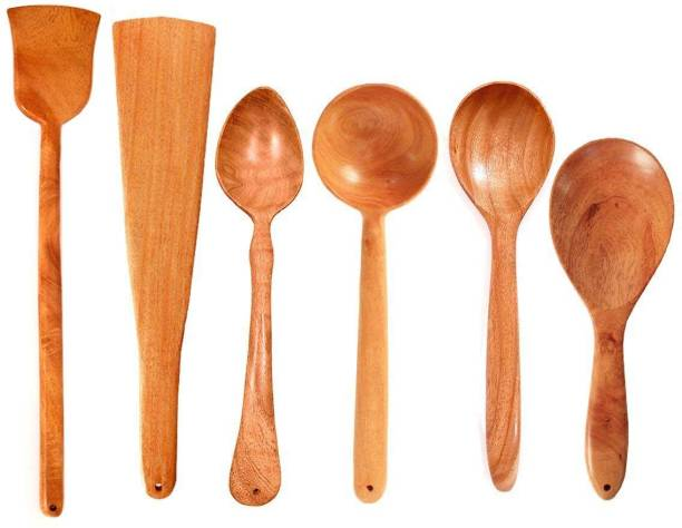Tora Creations TC Set 6 (1) Neem Wood Spatula for Cooking & Serving Wooden Ladle for non stick (Set of 6) Brown Kitchen Tool Set