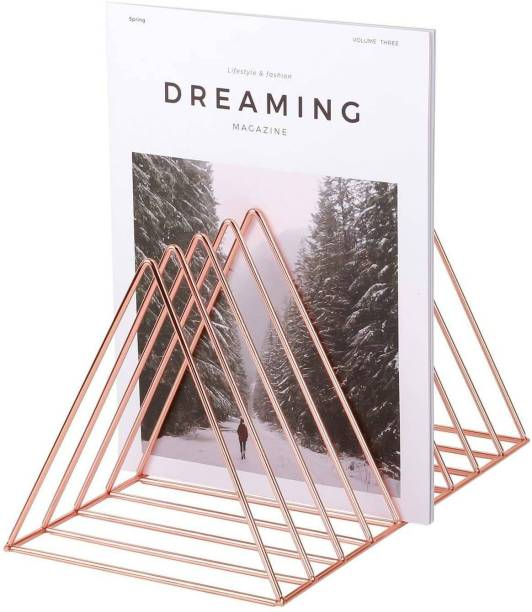 "Puri Pyramid Rose Gold Magazine Holder Rack, Desktop File Sorter Book Rack Organizer, 9 Slot Triangle Shape, Size 10""L X 8""W X 7""H - Inches Table Top Magazine Holder"