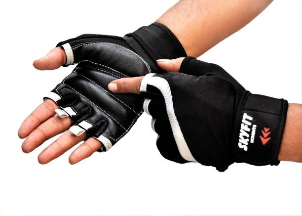 SKYFIT Leather padded Wrist support Gym gloves Gym & Fitness Gloves
