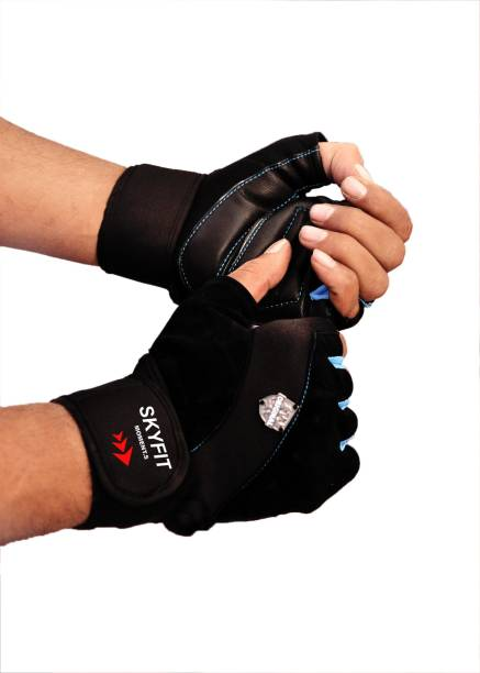 SKYFIT Leather padded Wrist support Gym Sports Workout gloves For Men and Women Gym & Fitness Gloves