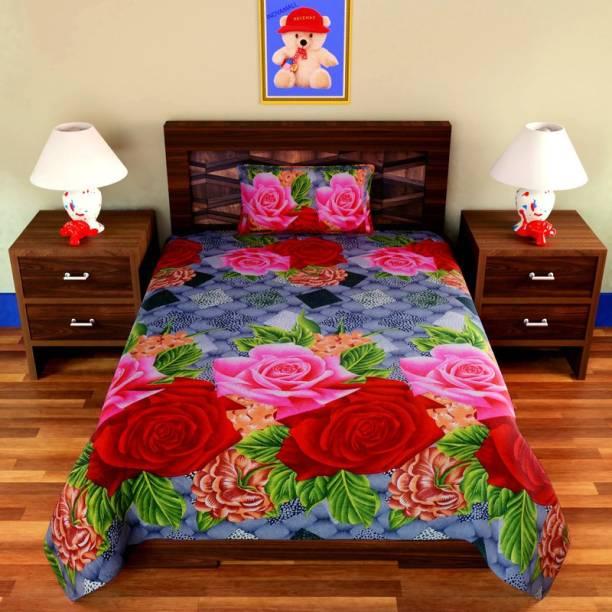 Inovamall 160 TC Microfiber Single Floral Bedsheet
