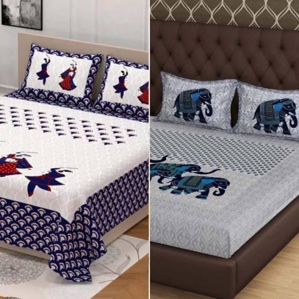 WARCHASV 150 TC Cotton Double King Jaipuri Prints Bedsheet