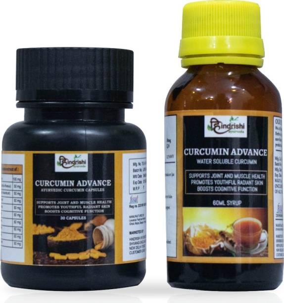 Hindrishi Ayurveda Curcumin Advance Combo of Capsules and Drops