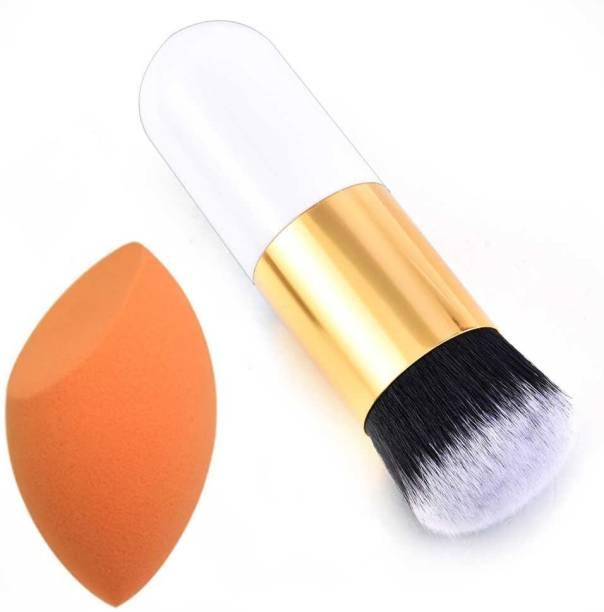 BELLA HARARO Ladista SKINPLUS Foundation Brush with Sponge puff blender - (Pack of 2)