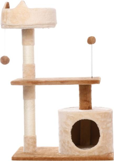 Foodie Puppies Cat Climbing Marshmallow Shape Interactive Condo Playing Hanging Balls Tree Scratching Post (64 * 41 * 87 cm) Free Standing Cat Tree