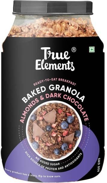 True Elements Baked Granola Almonds & Dark Chocolate, Ready to Eat Breakfast, Rich in Protein