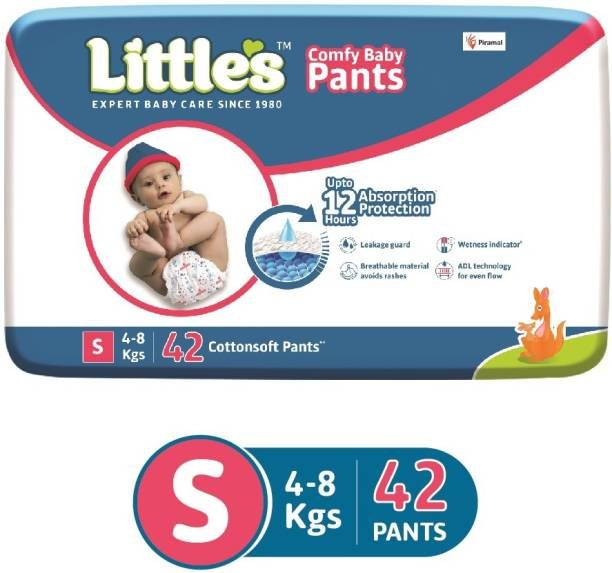 Little's Comfy Baby Pants Diapers with Wetness Indicator and 12 hours Absorption | Small | 42 Count - S