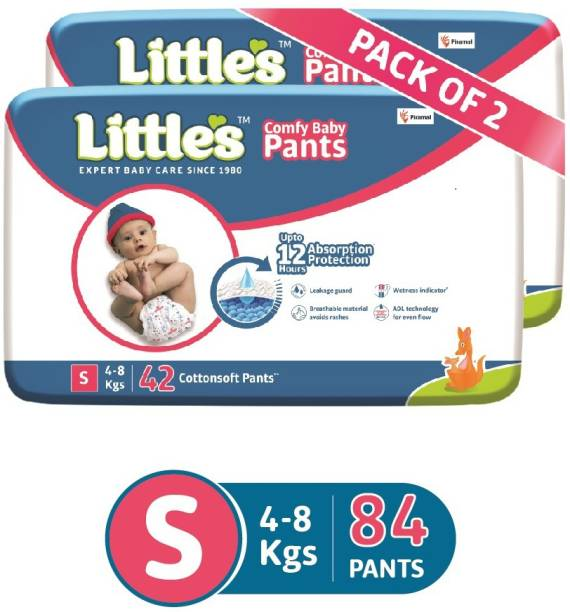 Little's Comfy Baby Pants Diapers with Wetness Indicator and 12 hours Absorption | Small - S