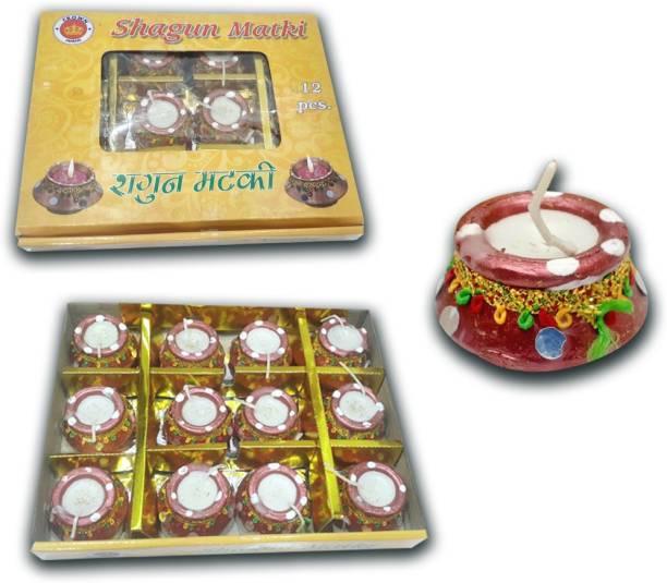 Rangoli Ceramic (Pack of 12) Table Diya