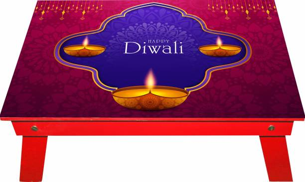 Enigmatic Woodworks Small Table Made in India, Laptop Table, Bed Table, Study Table For Kids (Red Diya Diwali) Engineered Wood Study Table