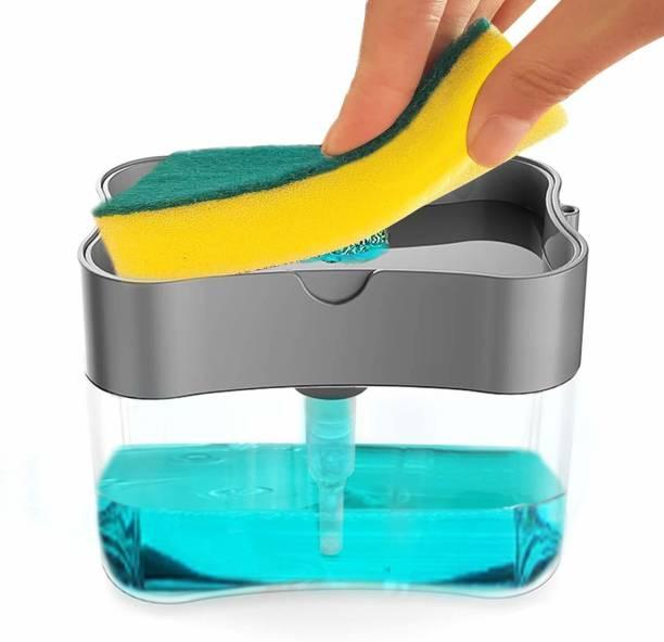Antic Plastic Liquid oSoap Dispenser Pump with Sponge Holder Cleaning Accessory Kitchen Sink Organiser Manual Press Sponge Dishwasher Cleaner Dishwash Bar