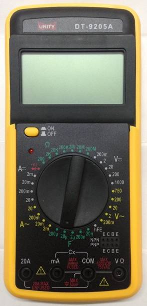 AMAZEE DT-9205A Volt Multi-meter With Probes For Resistance, Capacitor Check Meter Digital Multimeter (Yellow 2000 Counts) Digital Multimeter(2000 Counts) Digital Multimeter