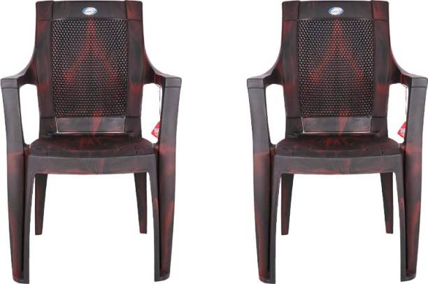national plastic Durable Chair Pack of 2 For home & Office (Rose Brown) Plastic Cafeteria Chair