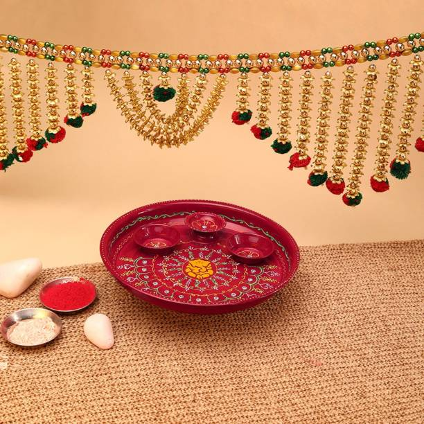 Aurum Pooja thali fancy with diya Stainless Steel