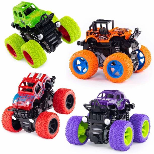 K A Enterprises 4 pack Monster truck cars,push and go toy trucks friction powered cars 4 wheel drive vehicles for toddlers children boys girls kids gift-4pcs- Multi color