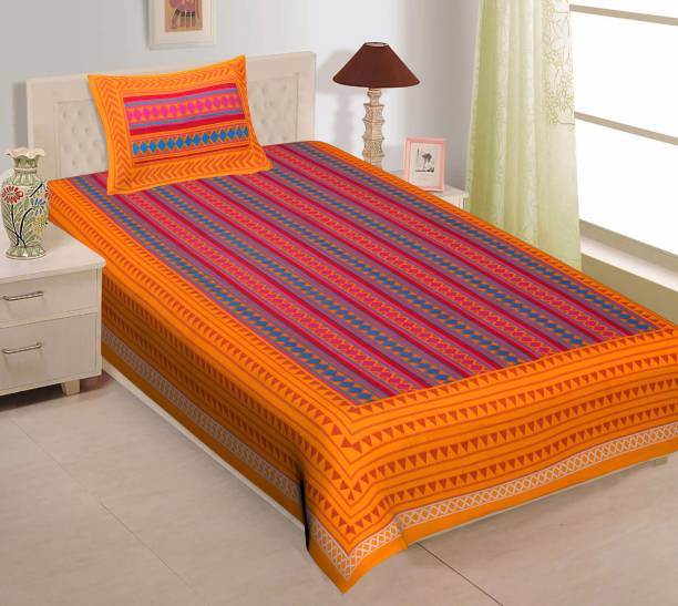 UNIBLISS 144 TC Cotton Single Geometric Bedsheet