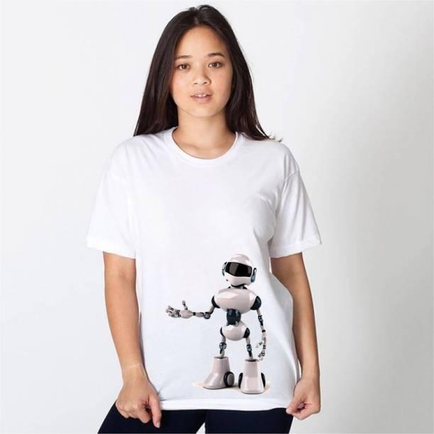 HamsaMART Printed Women Round Neck White T-Shirt
