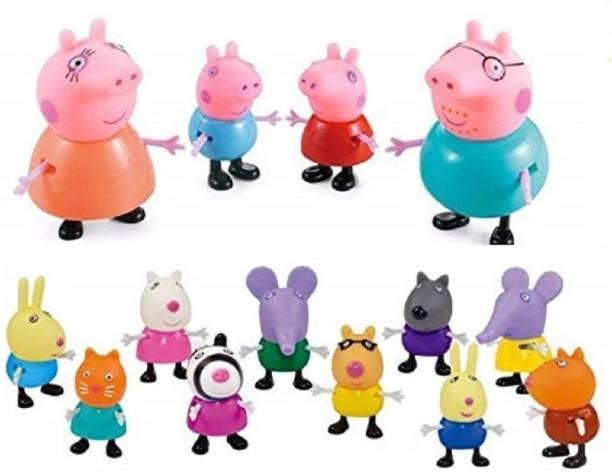 P s retail Kid's PVC Pig Family & Friends Toy Set Action Figure - 14 pcs set