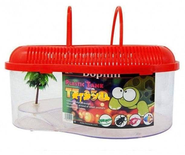 Pawwfect Large Size Turtle House for Small Turtles with Cover, Handle and Bask Platform Round Ends Aquarium Tank