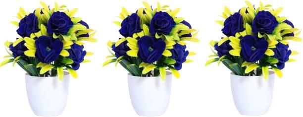 S-Biv Multicolor Ballmum Artificial Flower  with Pot