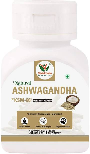 vaddmaan Natural Ashwagandha KSM¬66® (Clinically Proven) with Root Extract 500mg, 60 Veggie Caps - High Potency 5% Withanolides - Helps Natural Anxiety Relief, Vitality, Energy, Strength (Pack of 1)