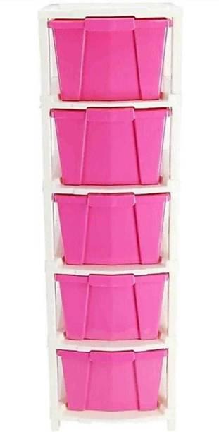 Mahadev Enterprise Plastic Free Standing Chest of Drawers (Finish Color - PINK) Plastic Free Standing Chest of Drawers