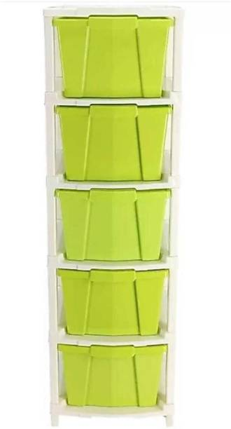 Mahadev Enterprise Plastic Free Standing Chest of Drawers (Finish Color - GREEN) Plastic Free Standing Chest of Drawers
