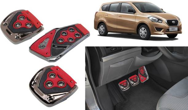 Selifaur 3 Pcs Red Non-Slip Manual Car Pedals kit Pad Covers Set for Datsun Go Plus Car Pedal