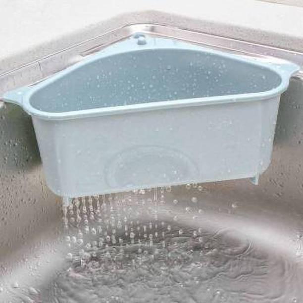 SALEOCTOPUS Triangle Shape Sink Storage Rack Drain Shelf Suction Cup Sink Soap Holder Kitchen Sucker Storage Drain Rack Corner Organizer, Multifunctional Collapsible Strainer