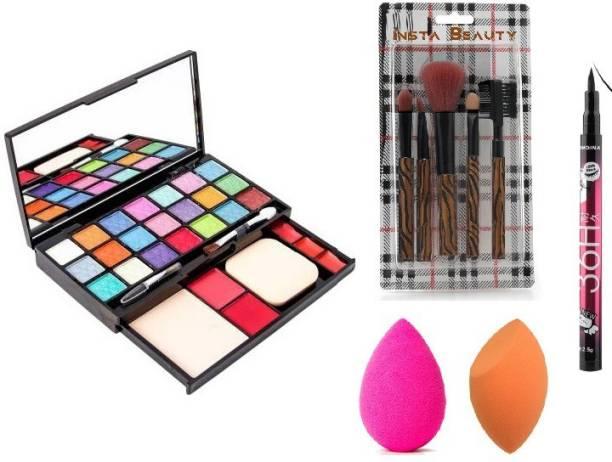Insta Beauty 5 Pcs Makeup Brush Set + TYA Makeup Kit + Yanqina Black Eye Liner + MeNow 2 Blendor Puffs