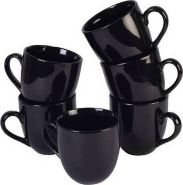 Sai shine craft Pack of 6 Ceramic Ceramic Pack of 6 Ceramic New Multi Ball Tea/Coffee Cups, 130 Ml, Set of 6 Pieces, (Black)
