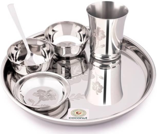 COCONUT Pack of 6 Stainless Steel Platina Laser Engrave Design Dinner Set