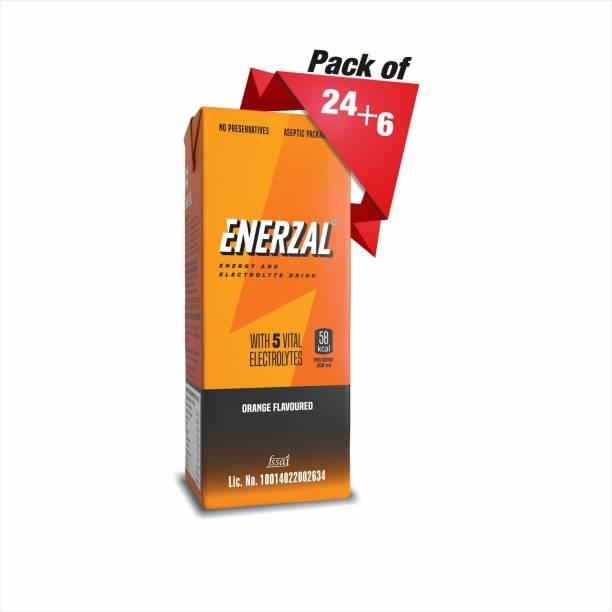 Enerzal Energy Dink Orange Flavour Tetra Pack 200ml Each (Buy 24 pack get 6 pack free) Energy Drink