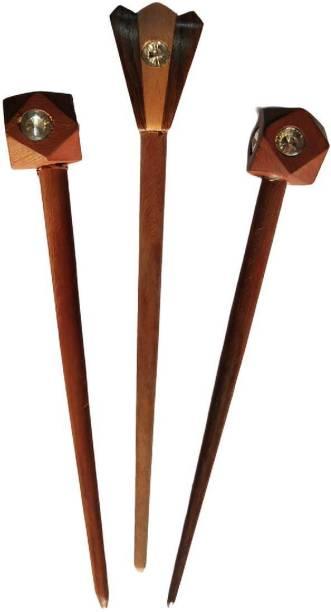 Master Arts Wooden Hair Stick, Juda Stick, Juda Pin, Hair Pin, Hair Clip, Bun Stick- ( set of 3 ) in pure shisham wood , size ( big- 7 inch ) ( small- 6 inch ) Bun Stick