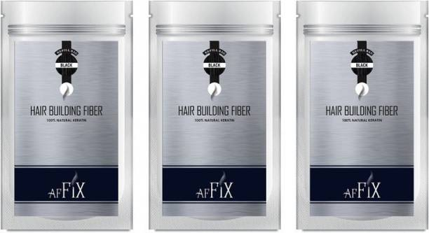 Affix Hair Fiber and Hair Volumizer For Hair Loss Black Refill Pack of 180 gms ( 60 gms Each) Hair Extreme Hair Volumizer Hair Fiber