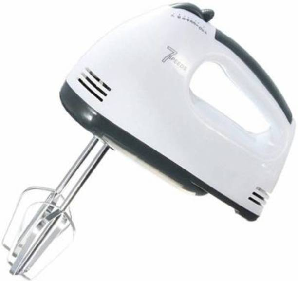Bluecorp enterprise Hand Mixer Beater Blender Electric Cream Maker for Cakes with Base 7 Speed Control and 2 Stainless Steel Beaters, 2 Dough Hooks (White) and Dough Hooks 180 W Hand Blender, Electric Whisk, Stand Mixer