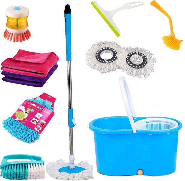 TOPREDO House Hold Using Combo Made in India 100% Virgin Plastic Mop, Bucket, Broom, Duster, Cleaning Cloth, Cleaning Brush, Kitchen Wiper