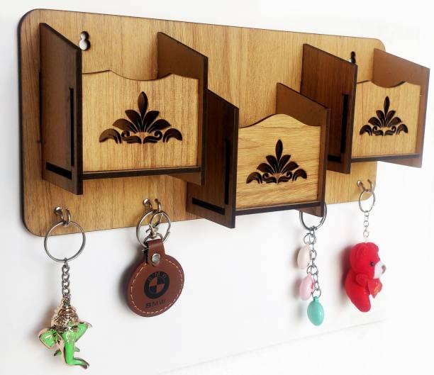 Arpita Crafts 3 Shelf Flower Wood Key Holder