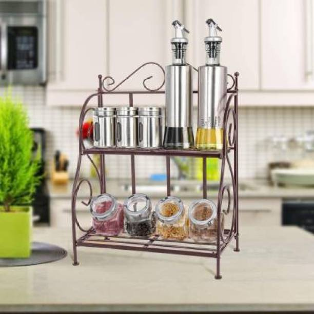 Craftpoint Beautiful Kitchen rack of metal with foldable design easy to carry .the material is brass plated Utensil Kitchen Rack