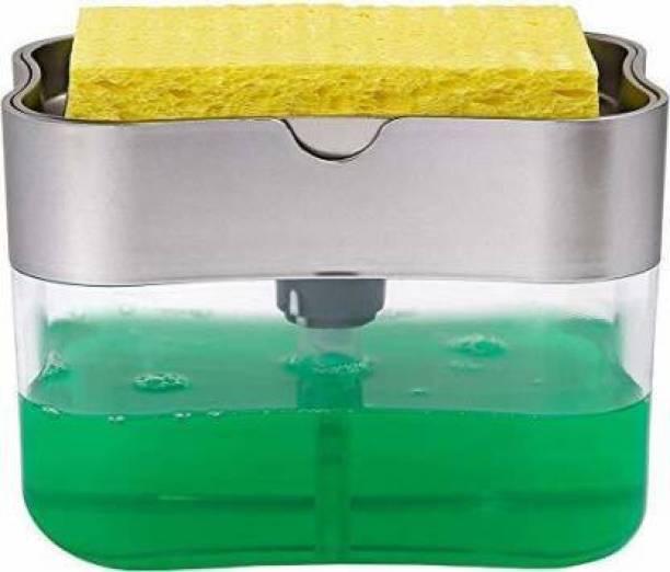 COTIT 2 in 1 Soap Pump Plastic Dispenser for Dishwasher Liquid; Holder (Random Colour; Standard; 385ml) Free Sponge 130 ml Liquid, Soap Dispenser
