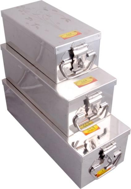 Shivshakti Arts 3 Sizes Stainless Steel Jewellery Box Bank Locker Safe Storage Cash Peti Bank Box Container Set (8 - Inch, 10.23 - Inch or 12.2 - Inch, Printed Laser Designe - Silver) Safe Locker